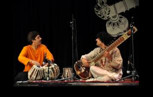 With Shantilal Shah (Tabla) at Hindu Temple in Houston