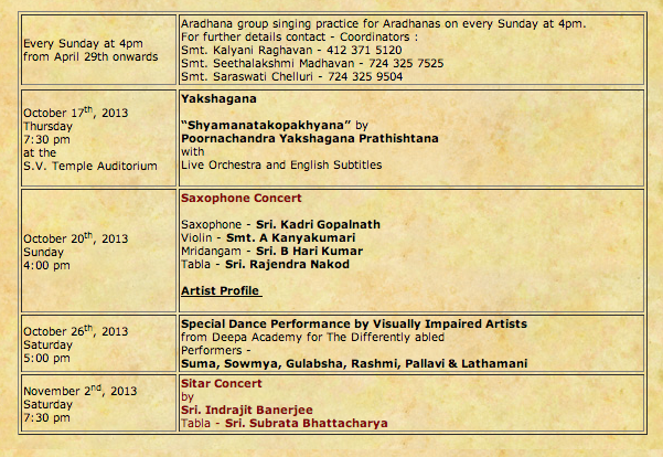 Sri Venkateswara Temple Event Schedule