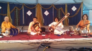 Swarsudha with Trichy Sankaran (Mridangam), Subhojyoti Guha (Tabla), and Neyeveli Radakrishna (Violin) at Chinmaya Mission, New Jersey