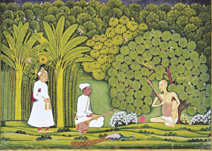 Emperor Akbar watches as Miyan Tansen receives a lesson from Swami Haridas, depicted in a painting. This raga isa creation of Tansen